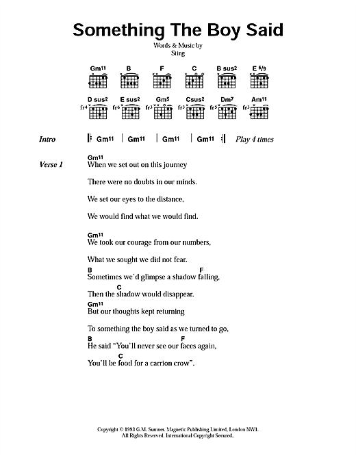 Something The Boy Said sheet music