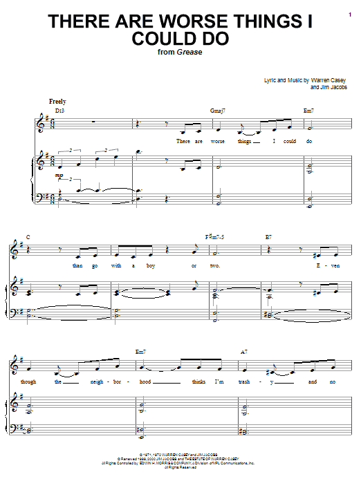 There Are Worse Things I Could Do (from Grease) sheet music