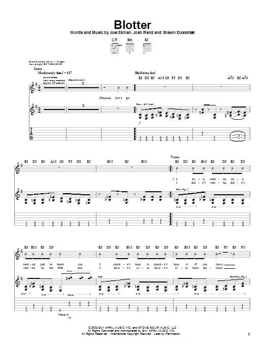 Blotter sheet music