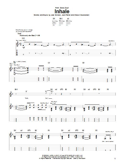 Inhale sheet music