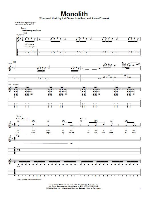 Monolith sheet music