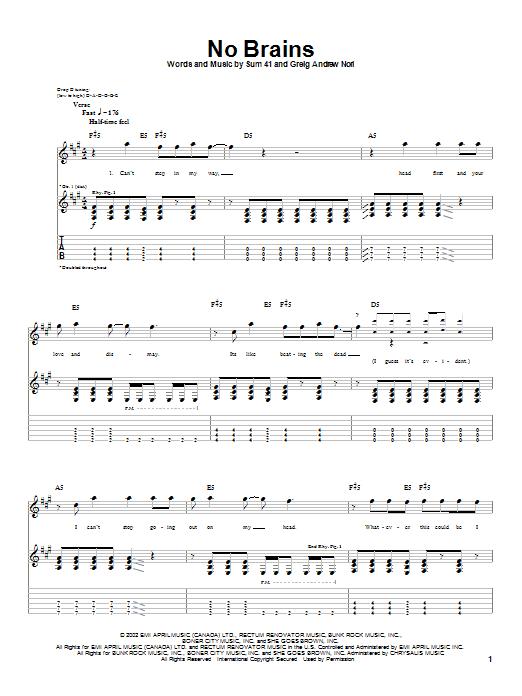 No Brains sheet music