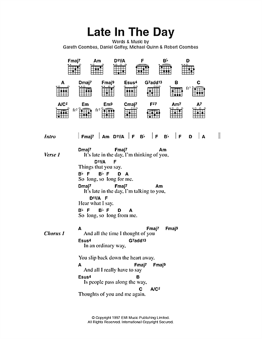 Late In The Day sheet music