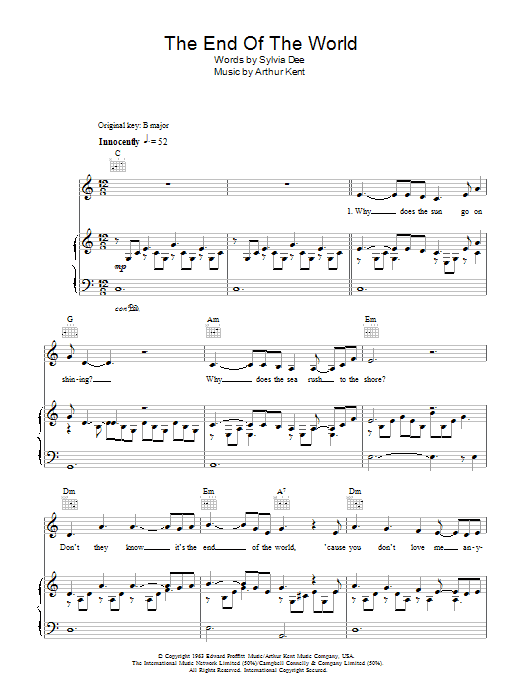 The End Of The World sheet music