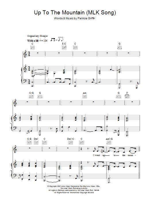 Up The Mountain (MLK Song) sheet music