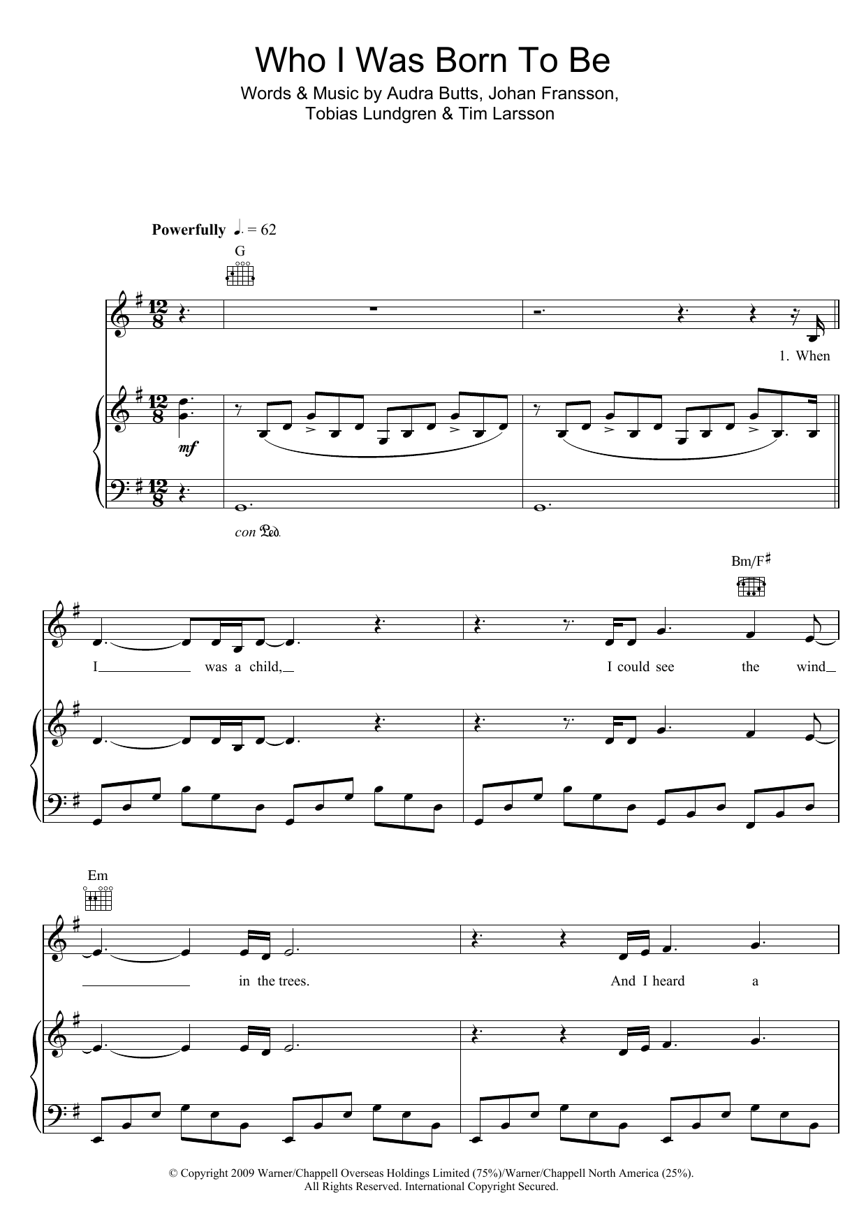Who I Was Born To Be sheet music