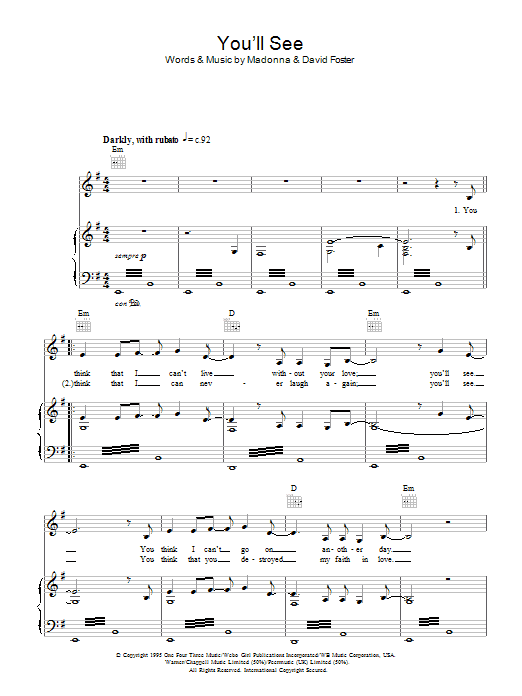 You'll See sheet music