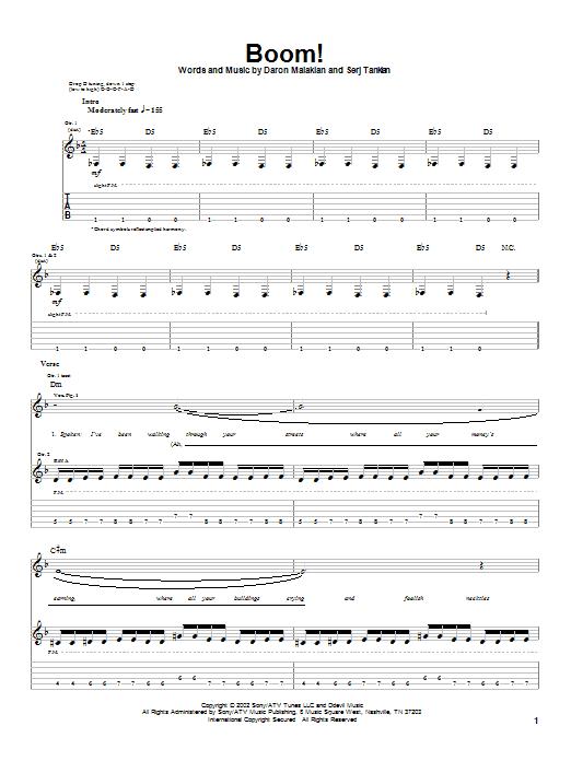 Boom! sheet music