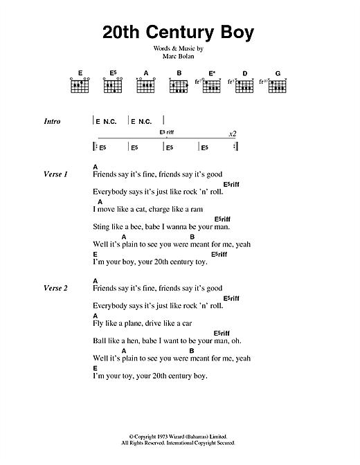 20th Century Boy sheet music