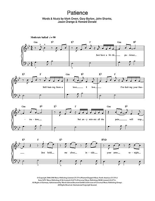 Patience sheet music
