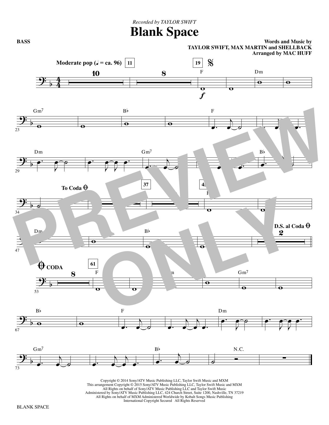Blank Space (arr. Mac Huff) - Bass sheet music
