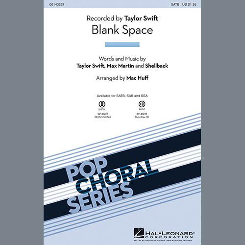 Taylor Swift, Blank Space (arr. Mac Huff) - Guitar, Choir Instrumental Pak