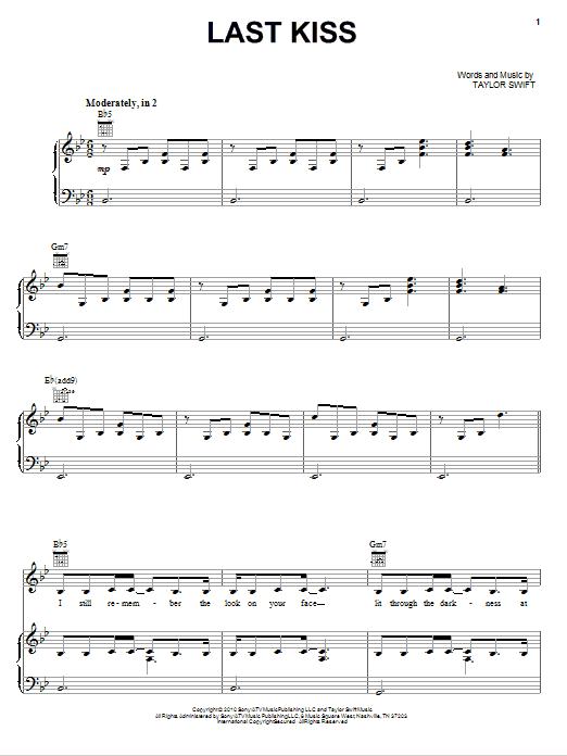 Last Kiss sheet music