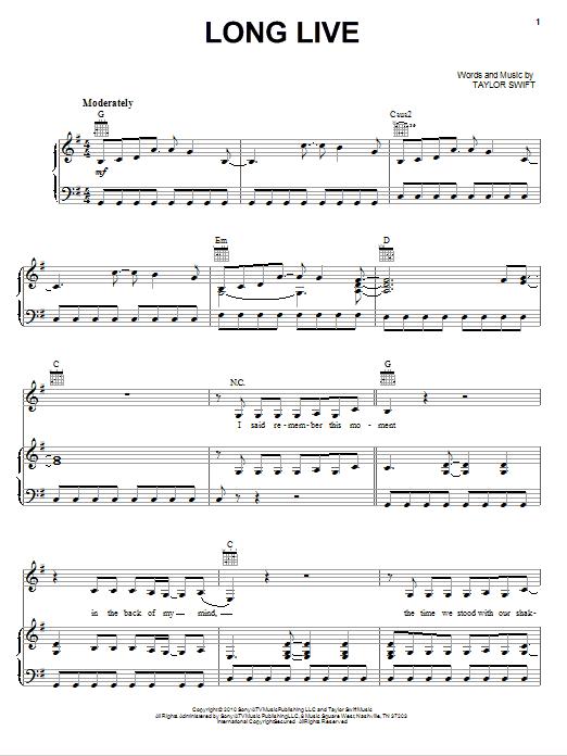 Long Live sheet music