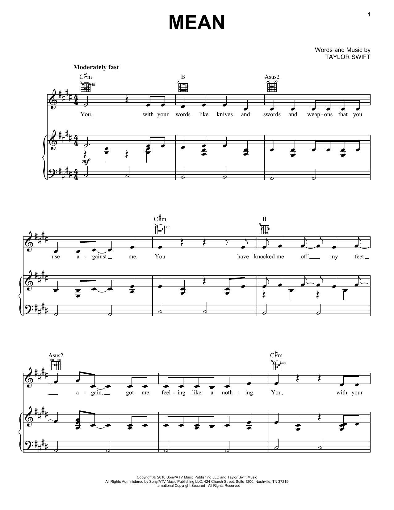 Mean sheet music
