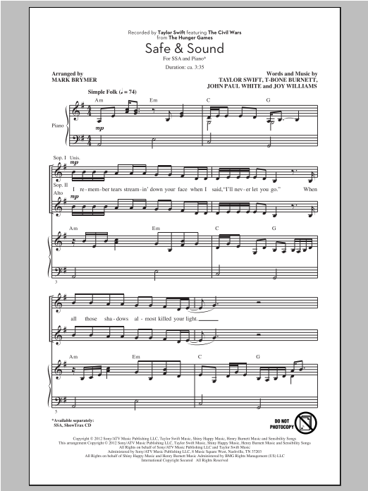 Safe & Sound (feat. The Civil Wars) (from The Hunger Games) (arr. Mark Brymer) sheet music
