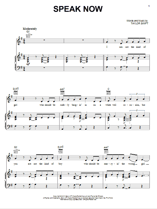 Speak Now sheet music