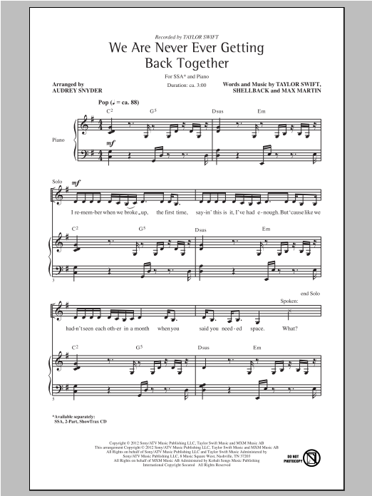 We Are Never Ever Getting Back Together (arr. Audrey Snyder) sheet music