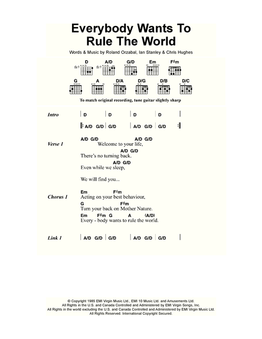 Everybody Wants To Rule The World sheet music