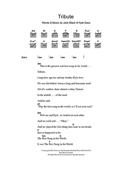 Tribute sheet music