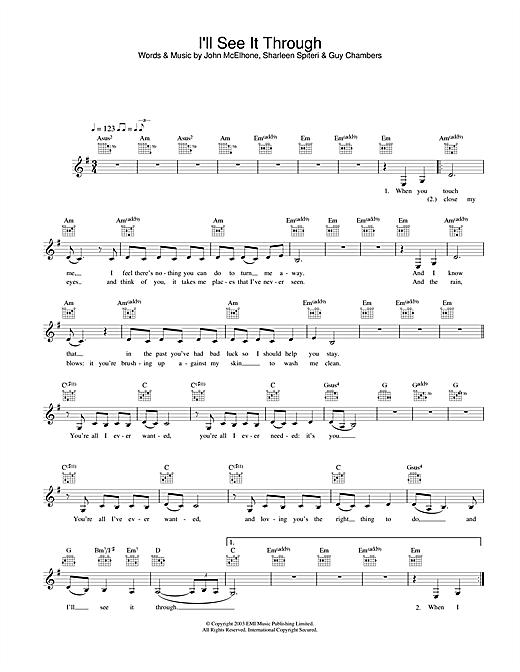 I'll See It Through sheet music