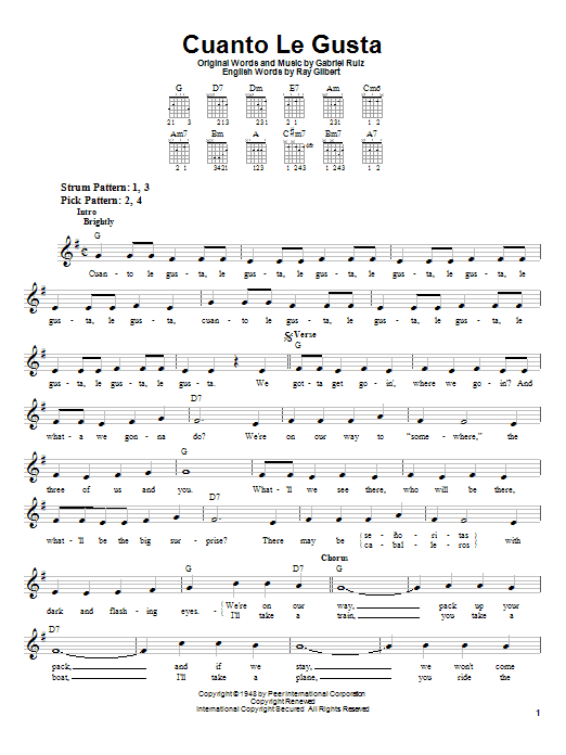 Cuanto Le Gusta sheet music