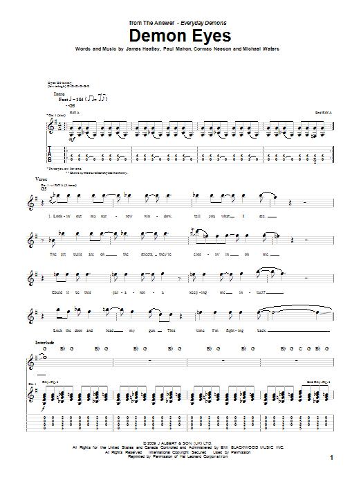 Demon Eyes sheet music