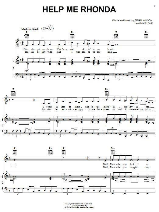 Help Me Rhonda sheet music