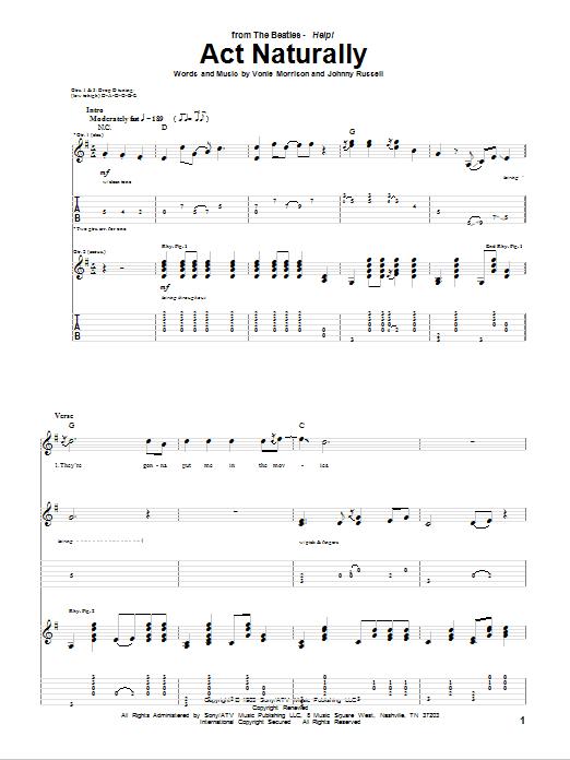 Act Naturally sheet music