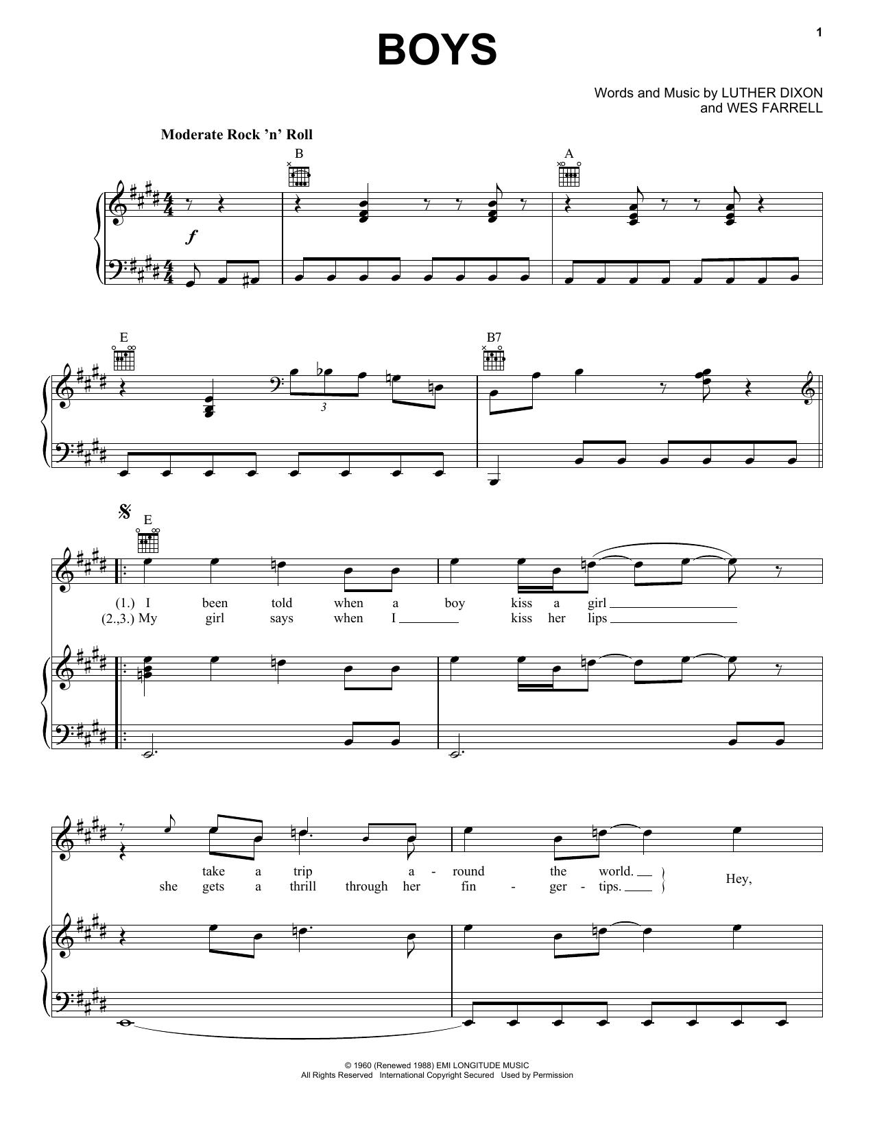 Boys sheet music
