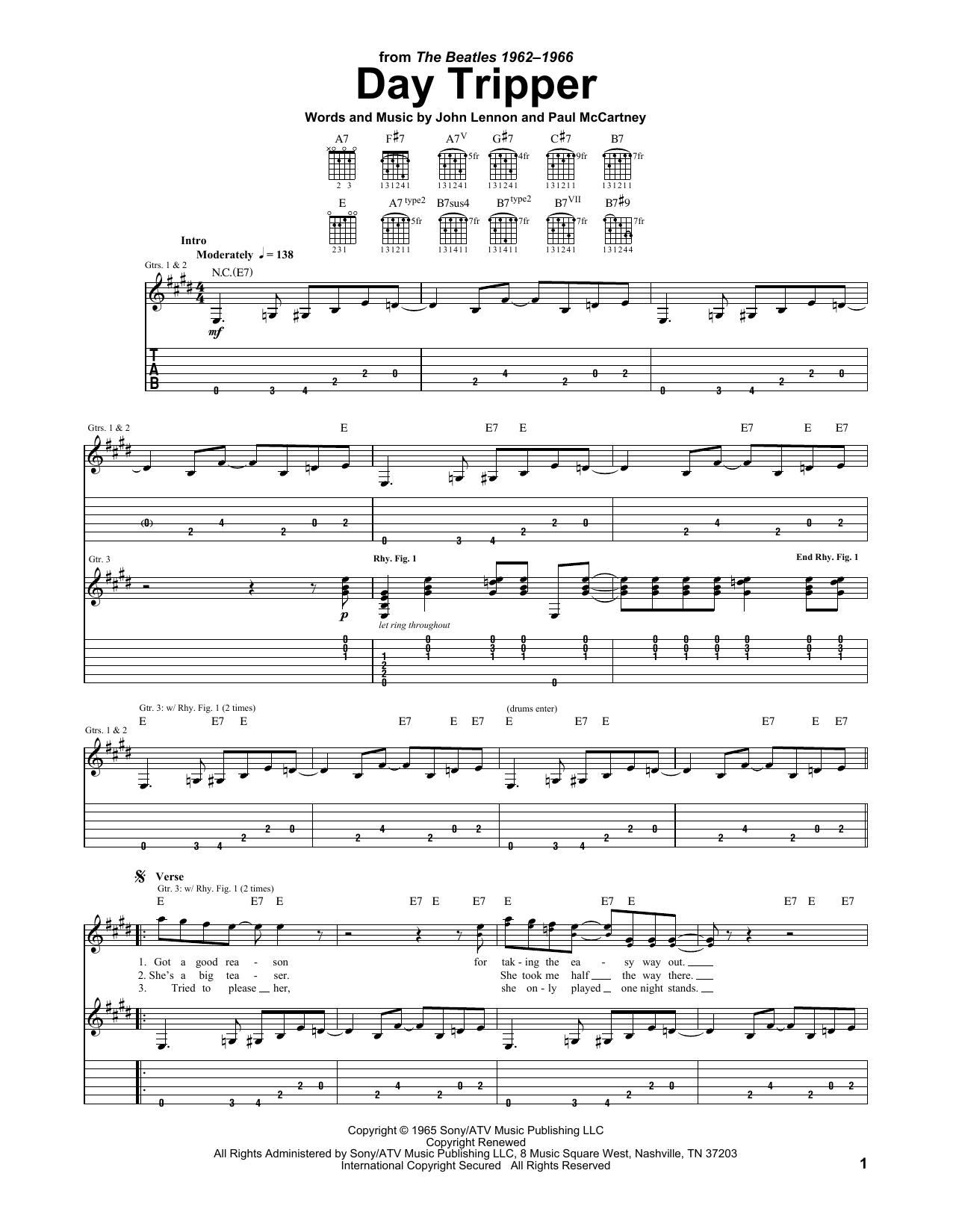 Day Tripper sheet music