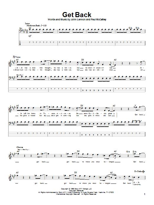 Get Back sheet music