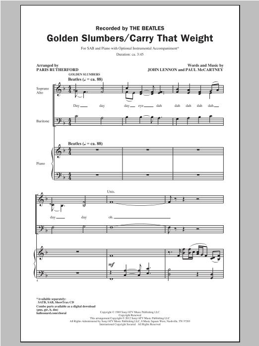 Golden Slumbers/Carry That Weight (arr. Paris Rutherford) sheet music
