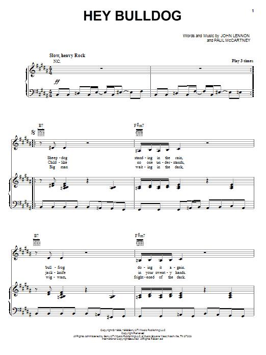 Hey Bulldog sheet music