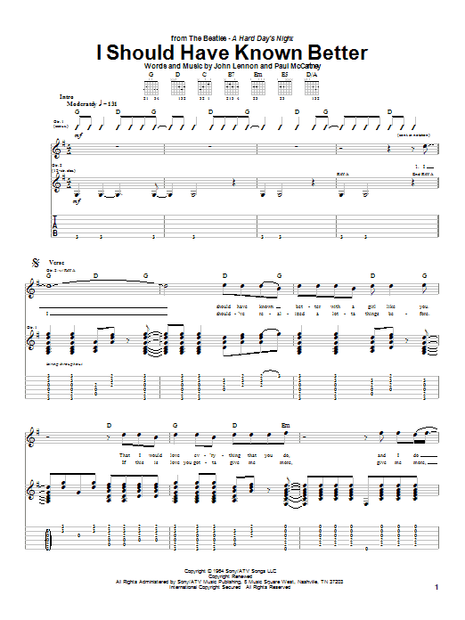 I Should Have Known Better sheet music