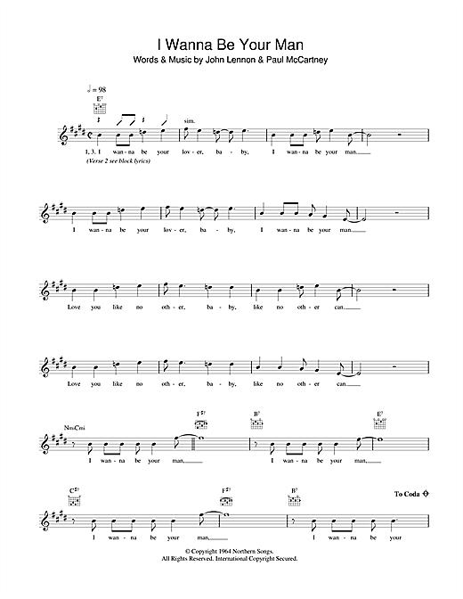 I Wanna Be Your Man sheet music