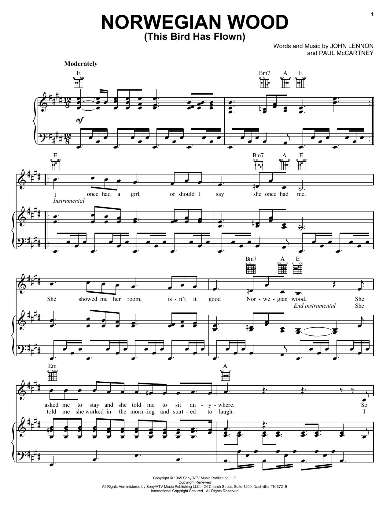 Norwegian Wood (This Bird Has Flown) sheet music