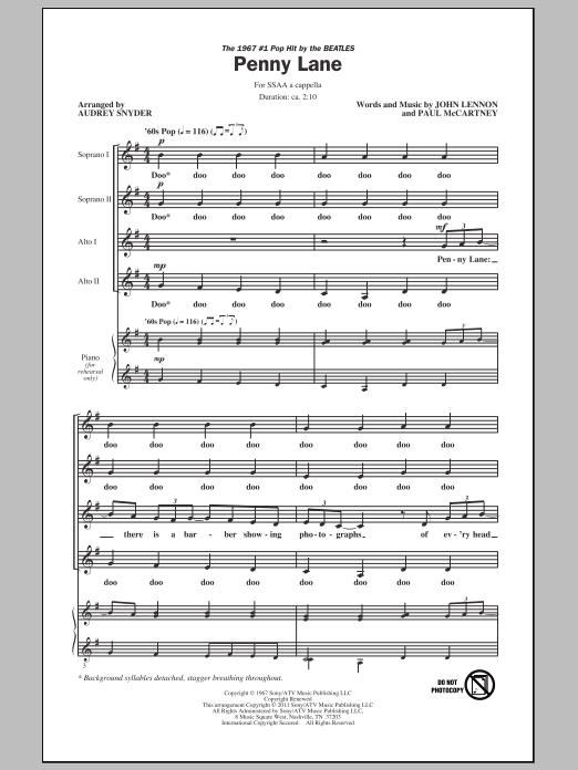 Penny Lane (arr. Audrey Snyder) sheet music