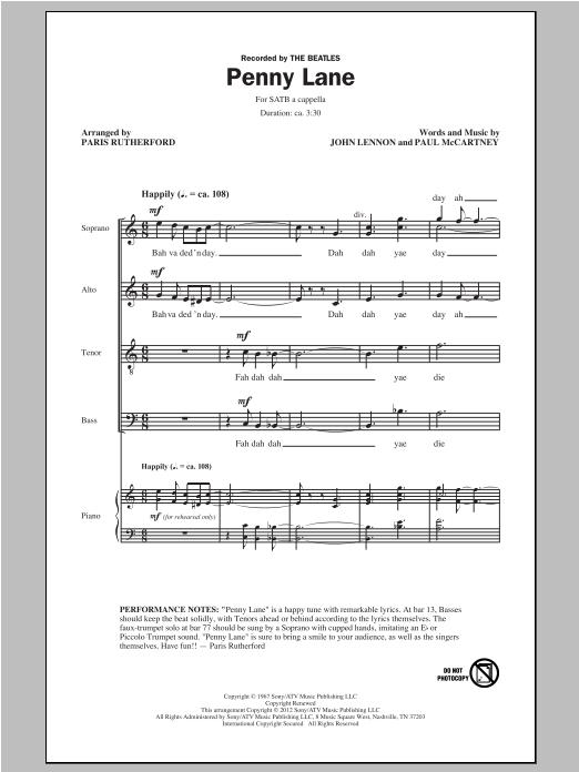 Penny Lane (arr. Paris Rutherford) sheet music