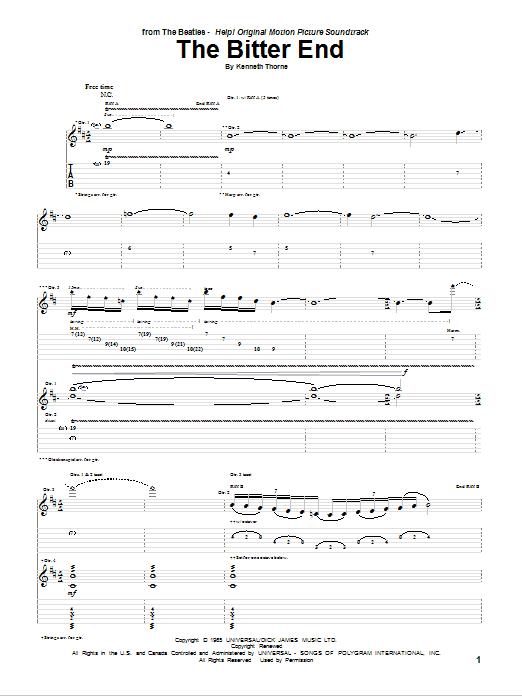 The Bitter End sheet music
