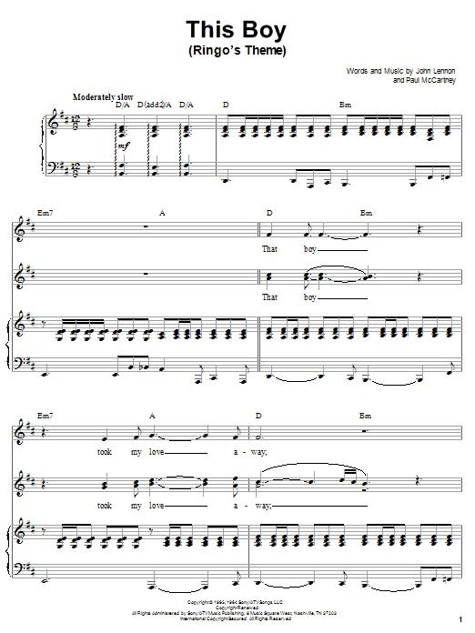 This Boy (Ringo's Theme) sheet music