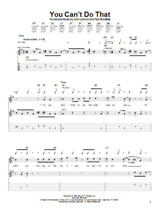 You Can't Do That sheet music