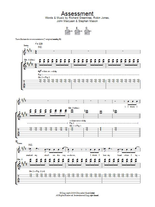 Assessment sheet music