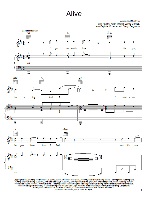 Alive sheet music