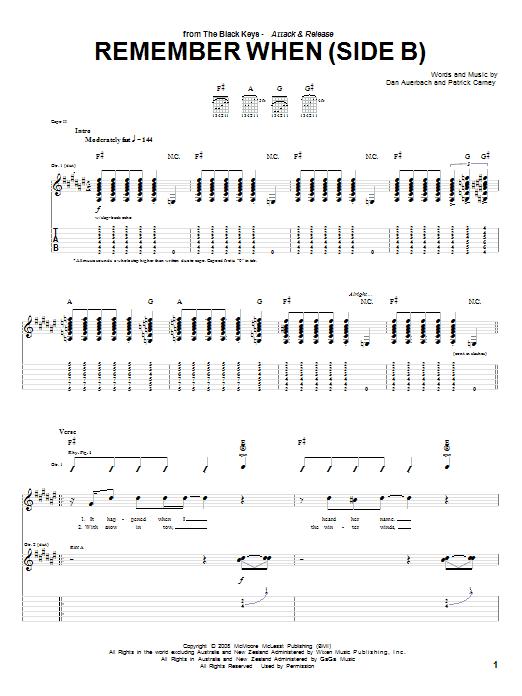 Remember When (Side B) sheet music