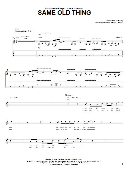 Same Old Thing sheet music