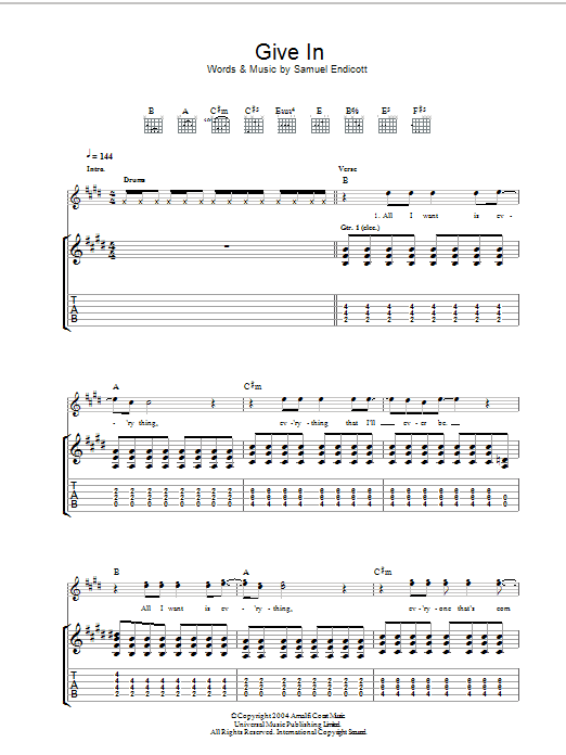Give In sheet music