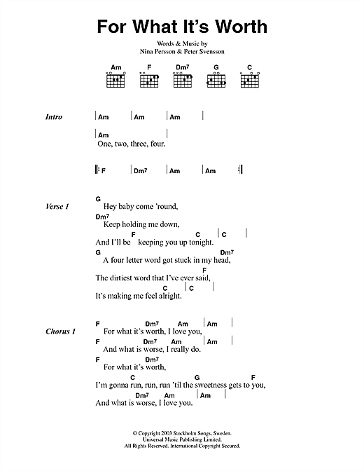 For What It's Worth sheet music