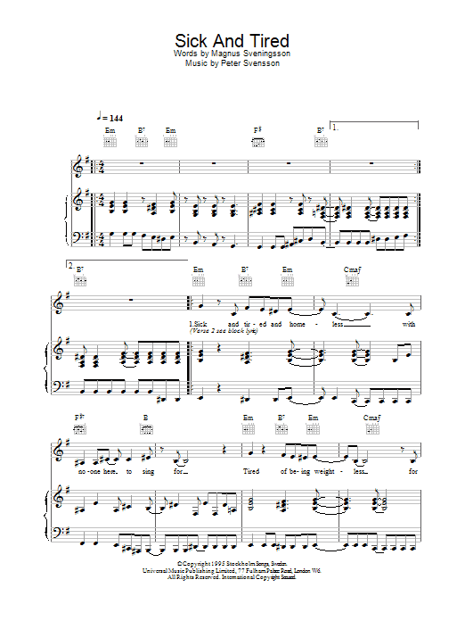 Sick And Tired sheet music
