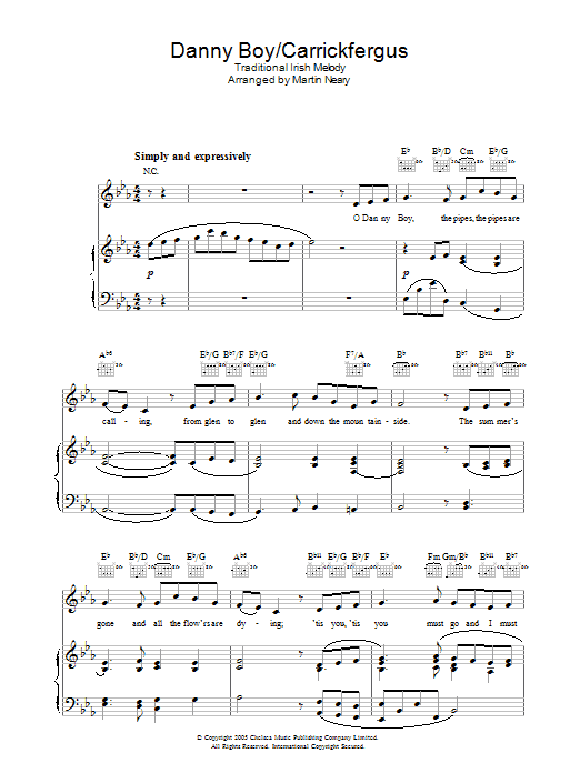 Danny Boy/Carrickfergus sheet music